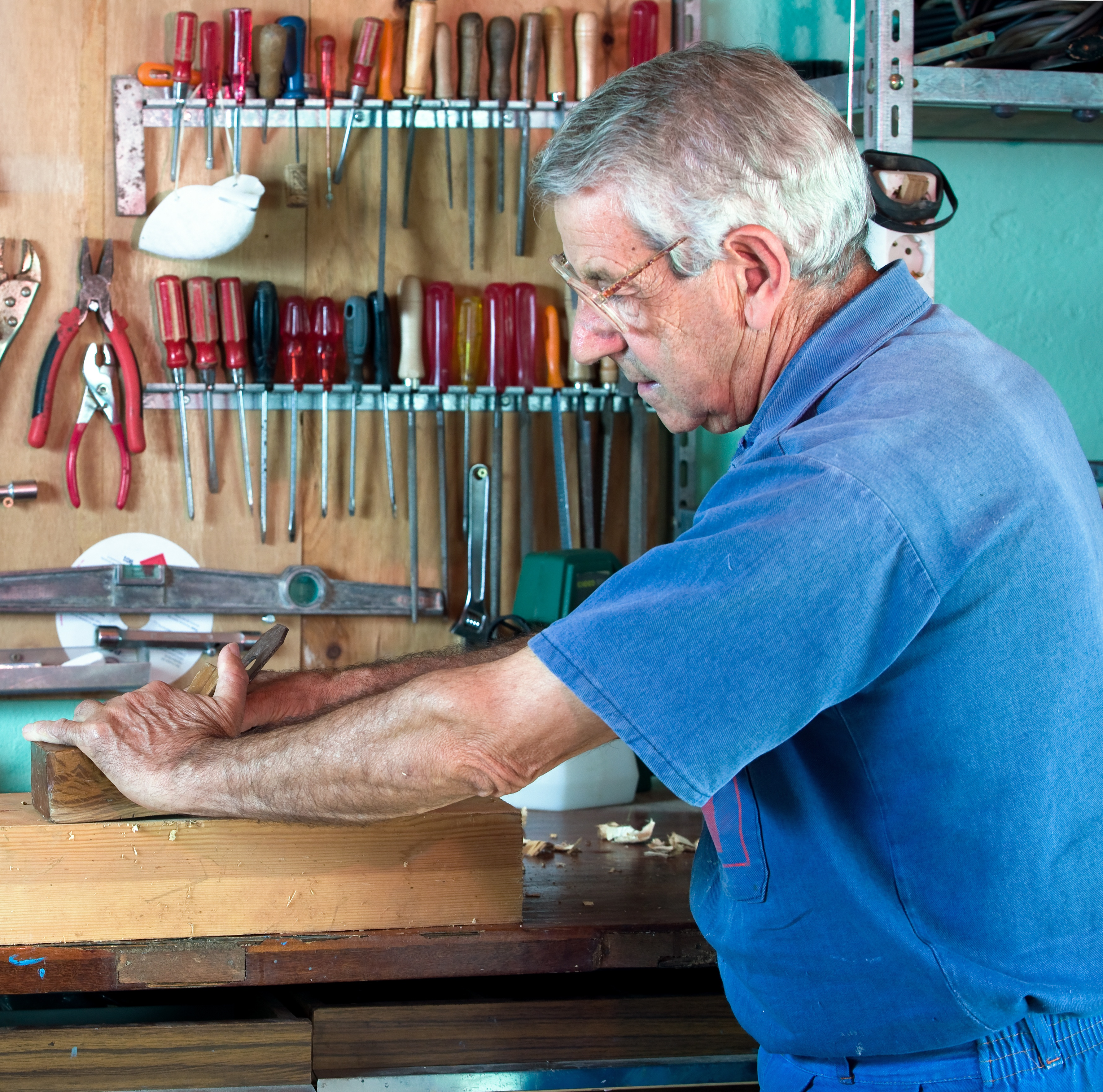 cabinetmaker working in the wood